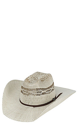 Cavender's Ranch Collection Two Tone Bangora Vented Crown Straw Cowboy hat