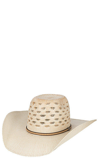 569f987e8 Cavender's Ranch Collection Two Tone Bangora Vented Straw Cowboy Hat