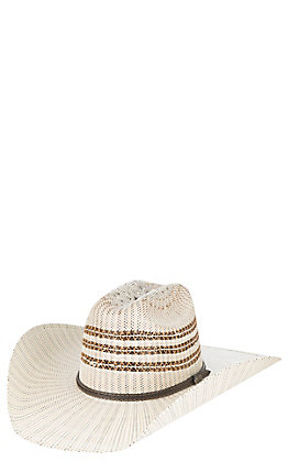 Cavender's Ranch Collection Two Tone Vented Crown Bangora Straw Cowboy Hat