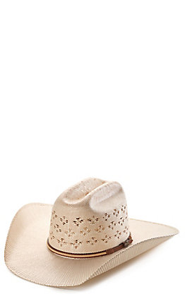Cavender's Ranch Collection Bangora Ivory and Tan Two-Toned Vented Straw Cowboy Hat
