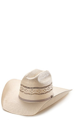 Cavender's Ranch Collection Bangora Ivory and Grey Two-Toned Vented Straw Cowboy Hat