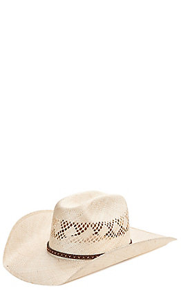Cavender's Ranch Collection Straw Sisal Diamond Vent Maverick Fancy Band Cowboy Hat