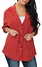 Umgee Women's Brick Red with Drawstrings Jacket