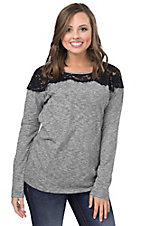 Umgee Women's Heather Grey with Black Lace Yoke Long Sleeve Top