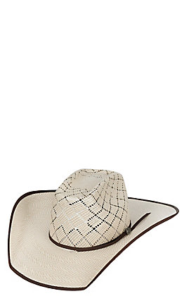Cavender's Cowboy Collection 10X Two Tone Straw Vented Bound Edge Cowboy Hat