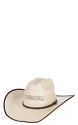 Cavender's Cowboy Collection 10X Two Tone Vented Crown Straw Cowboy Hat
