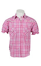 Panhandle Girl's Pink Plaid Ruffle Short Sleeve Western Shirt