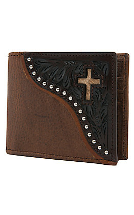 Ranger Belt Company Men's Distressed Brown with Dark Tooling & Cross Inlay Bi-fold Wallet