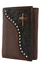 Ranger Belt Company Men's Distressed Brown w/ Dark Tooling & Cross Inlay Tri-Fold Wallet