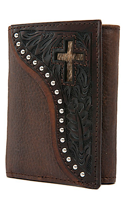 Ranger Belt Company Men's Distressed Brown with Dark Tooling & Cross Inlay Tri-Fold Wallet