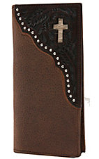 Ranger Belt Company Men's Distressed Brown w/ Dark Tooling & Cross Inlay Rodeo Wallet