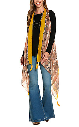 Grace & Emma Rust and Snakeskin Tassel Vest