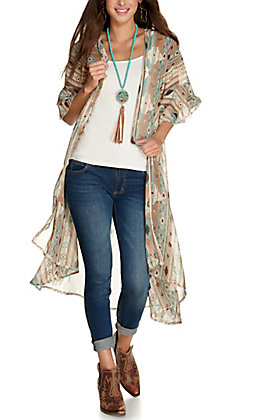 Grace & Emma Women's Teal and Brown Aztec Print 3/4 Ruffle Sleeves Duster Kimono