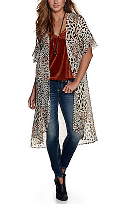 Grace & Emma Women's Cream Leopard Print Short Ruffle Sleeves Duster Kimono