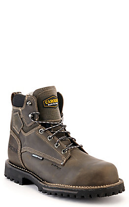 Carolina Men's Grey Waterproof Round Composite Toe Lace Up Work Boots