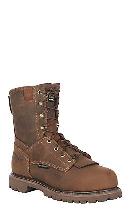 Carolina Men's Distressed Brown Waterproof Round Composite Toe Lace Up Work Boot