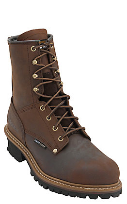Carolina Copper Crazy Horse 8in Lace Up Steel Toe Waterproof Logger Work Boot