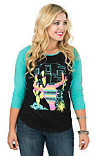 Crazy Train Women's Black with Turquoise, Orange, and Yellow Steer Screen Print Design and Turquoise 3/4 Sleeves Casual Knit Top