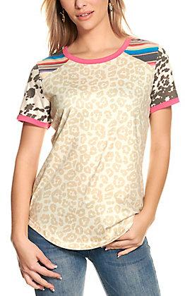 Crazy Train Women's Beige Leopard Print with Hot Pink Trim Short Sleeve T-Shirt