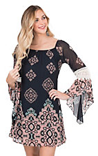 James C Women's Navy Print with Crochet Details Long Bell Sleeve Dress