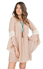 James C Women's Solid Taupe with Crochet Details Long Bell Sleeve Dress