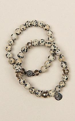 Laminin Calvary Matte Dalmatian Jasper Beaded Bracelet