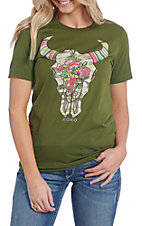 XOXO Art & Co. Women's Olive Camo Skull T-Shirt