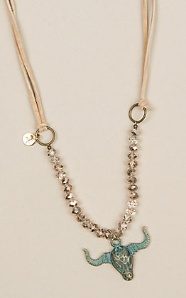 Laminin Campfire Gold and Glass Bead Necklace