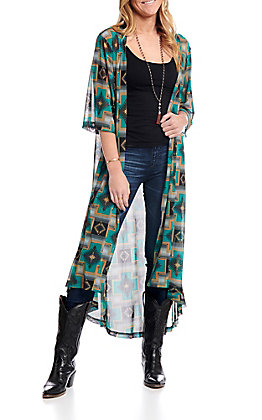 Crazy Train Women's Teal Aztec Short Sleeve Duster