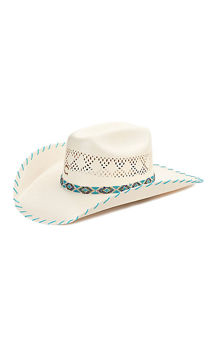 584ddb00d Charlie 1 Horse Kid's Apache Vent Turquoise Whipstitch Straw Cowboy Hat