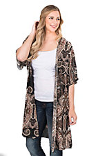 James C Women's Black Paisley Print 1/2 Sleeve Cardigan