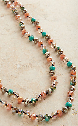 Laminin Carencro Pink & Turquoise Long Beaded Necklace