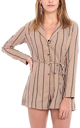 Favlux Fashion Women's Mocha Striped Romper