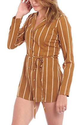 Favlux Fashion Women's Mustard Striped Romper