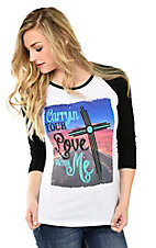 Crazy Train Women's White Carrying Your Love with Me with Black 3/4 Baseball Sleeves Casual Knit Tee