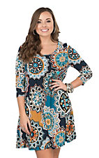 James C Women's Multi Colored Floral Print 3/4 Sleeve Dress