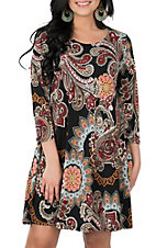 James C Women's Black Paisley Print 3/4 Sleeve Dress