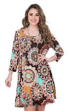 James C Women's Brown Floral Print 3/4 Sleeve Dress