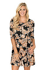 James C Women's Black and Orange Paisley 3/4 Sleeve Dress