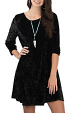 Honeyme Women's Black Velvet Dress