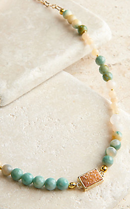 Laminin Castor Turquoise and Cream Beads with Pink Druzy Stone Necklace