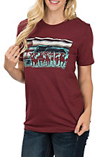 Crazy Train Women's Maroon Cattle Drive Short Sleeve T-Shirt