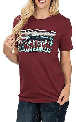 Crazy Train Women's Maroon Cattle Drive Short Sleeve T-Shirt