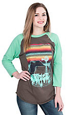 Crazy Train Women's Brown with Sun Set Screen Print and Long Teal Sleeves Casual Knit Shirt