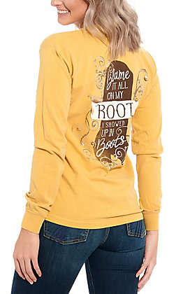 Women's Mustard Blame it All on my Roots Long Sleeve T-Shirt