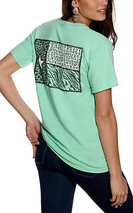 Women's Island Green Multi Animal Print Texas Flag Short Sleeve T-Shirt