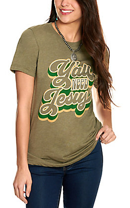 Women's Olive Green Y'all Need Jesus Short Sleeve T-Shirt