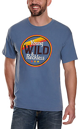 Men's Blue Young Wild and Reckless Short Sleeve T-Shirt