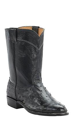 Cavender's Men's Black Full Quill Ostrich Exotic Roper Boots