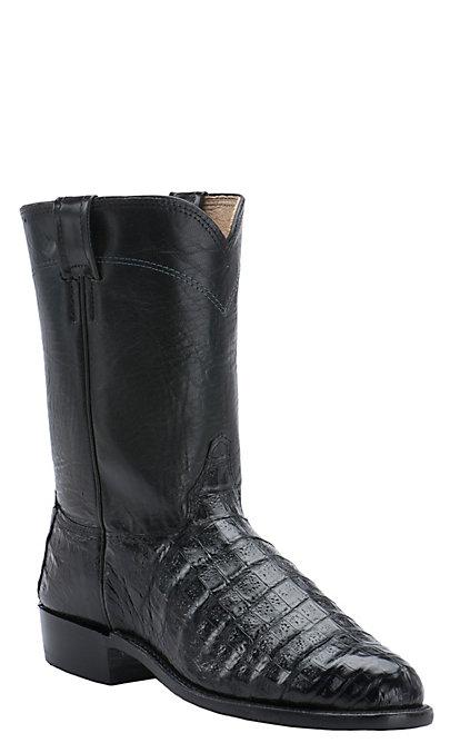 c1b8296feda Cavender's Men's Black Caiman Belly Exotic Roper Boots